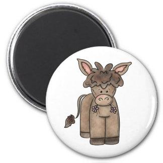 Cute Cuddly Little Burro 6 Cm Round Magnet