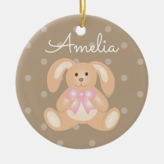 Cute Cuddly Pink Ribbon Bunny Rabbit Add Your Name Round Ceramic Decoration
