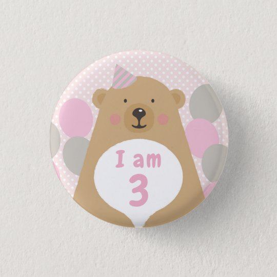 Cute Cuddly Teddy Bear Birthday Age Badge Button