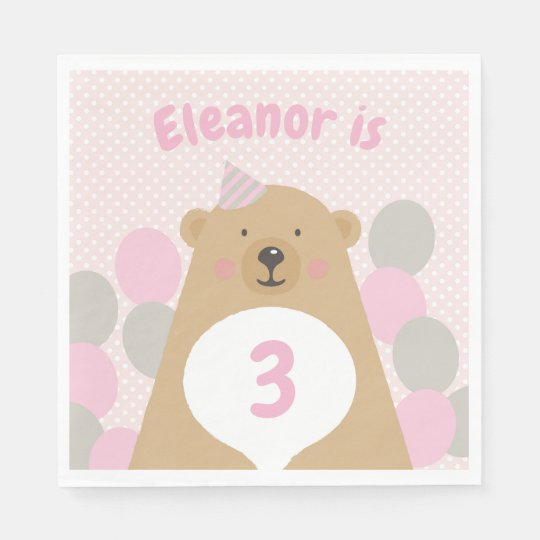 Cute Cuddly Teddy Bear Birthday Paper Napkin