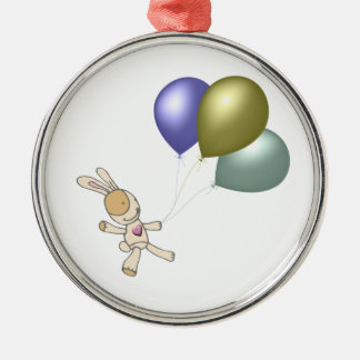 Cute Cuddly Toy and Balloons Art Silver-Colored Round Decoration