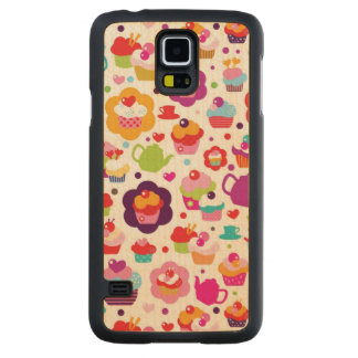 Cute cup cake and tea pot carved maple galaxy s5 case