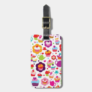 Cute cup cake and tea pot luggage tag