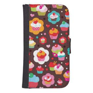 Cute Cup Cake Pattern Samsung S4 Wallet Case