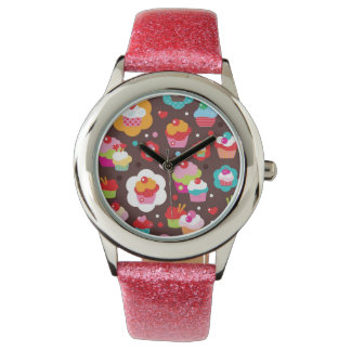 Cute Cup Cake Pattern Watch