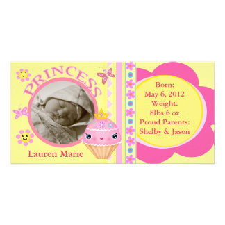 Cute Cupcake Baby Announcement Photo Cards