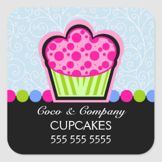 Cute Cupcake Bakery Blue Stickers