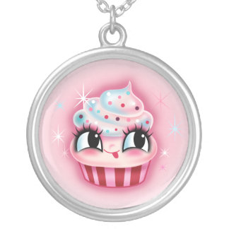 Cute Cupcake by Fluff Round Pendant Necklace