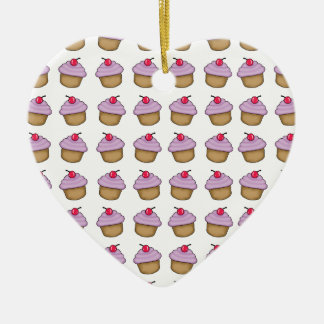 Cute Cupcake Ceramic Heart Decoration