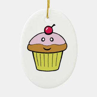 cute cupcake ceramic oval decoration