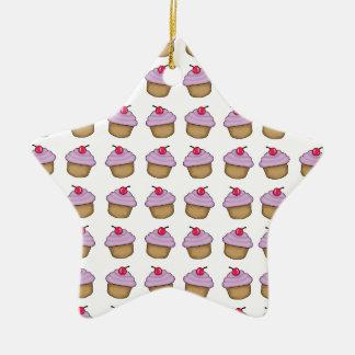 Cute Cupcake Ceramic Star Decoration