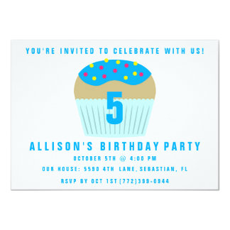 Cute Cupcake Five 5th Birthday Party Invite