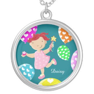Cute Cupcake Girl Running Through Balloons Kids Round Pendant Necklace