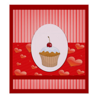 Cute Cupcake Hearts and Stripes Poster