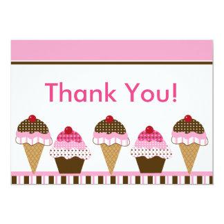 Cute Cupcake & Ice Cream Thank You Card 13 Cm X 18 Cm Invitation Card