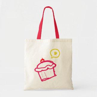Cute Cupcake Love Budget Tote Bags