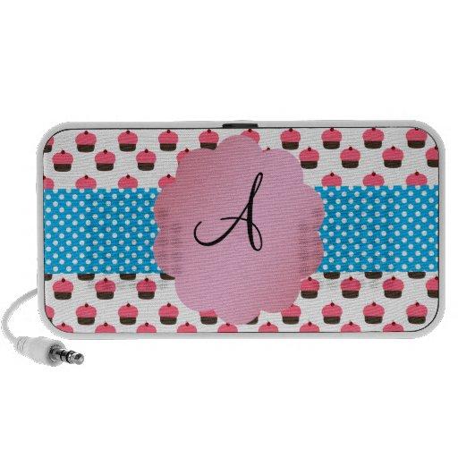 Cute cupcake monogram iPod speakers