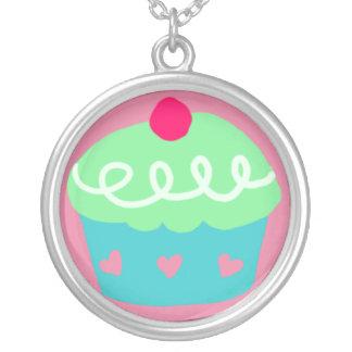 Cute Cupcake Round Pendant Necklace