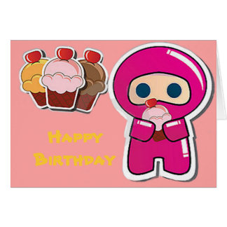 Cute Cupcake Ninja- Pink- Birthday Card