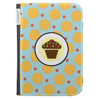 Cute Cupcake on Orange Blue Yellow Polka Dots Case For Kindle