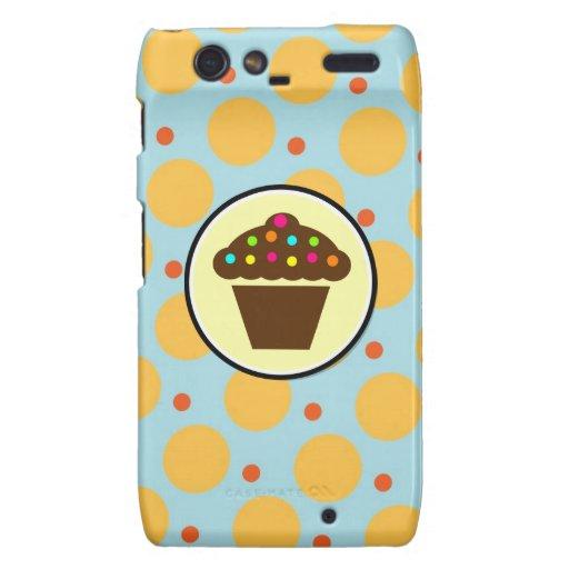 Cute Cupcake on Orange Blue Yellow Polka Dots Droid RAZR Cover