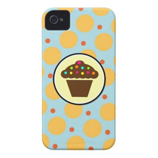Cute Cupcake on Orange Blue Yellow Polka Dots Blackberry Bold Cases