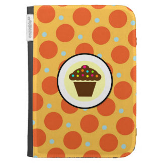 Cute Cupcake on Orange Blue Yellow Polka Dots Case For The Kindle