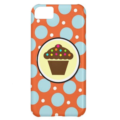 Cute Cupcake on Orange Blue Yellow Polka Dots iPhone 5C Cases