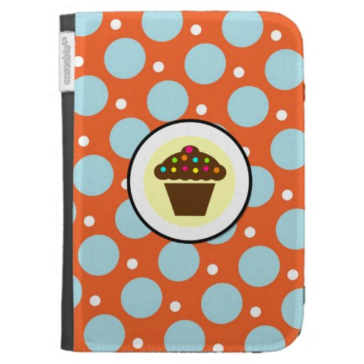 Cute Cupcake on Orange Blue Yellow Polka Dots Cases For The Kindle