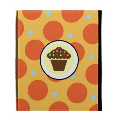 Cute Cupcake on Orange Blue Yellow Polka Dots iPad Folio Cases