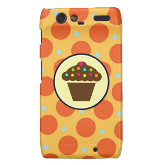 Cute Cupcake on Orange Blue Yellow Polka Dots Motorola Droid RAZR Case
