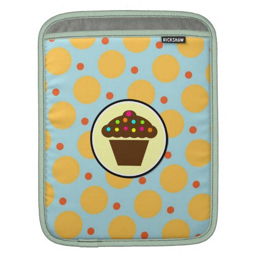 Cute Cupcake on Orange Blue Yellow Polka Dots Sleeve For iPads
