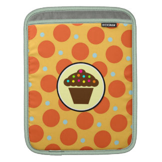 Cute Cupcake on Orange Blue Yellow Polka Dots iPad Sleeve