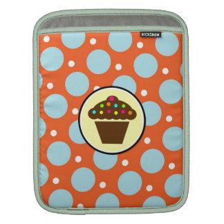 Cute Cupcake on Orange Blue Yellow Polka Dots iPad Sleeves