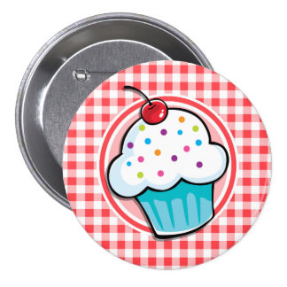 Cute Cupcake on Red and White Gingham 7.5 Cm Round Badge