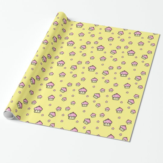 Cute cupcake pattern Glossy Wrapping Paper