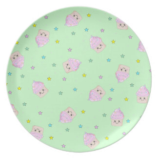 Cute Cupcake pattern green plate