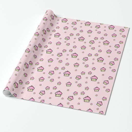 Cute cupcake pattern Pink Glossy Wrapping Paper