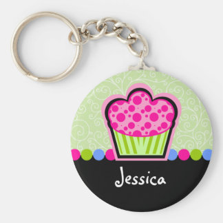 Cute Cupcake Personalized Keychain