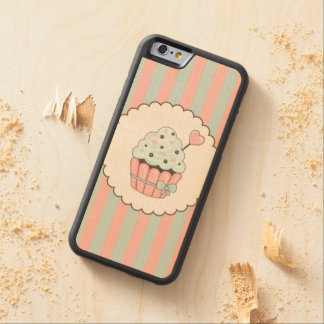 Cute Cupcake Pink & Mint Blue Design Carved® Maple iPhone 6 Bumper