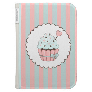 Cute Cupcake Pink & Mint Blue Design Kindle 3 Cases
