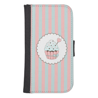 Cute Cupcake Pink Mint Blue Design Galaxy S4 Wallet Case