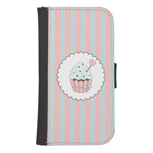 Cute Cupcake Pink & Mint Blue Design Galaxy S4 Wallet Case