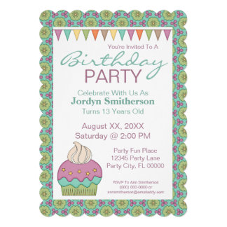 Cute Cupcake Purple Teal Birthday Party Celebrate Announcements