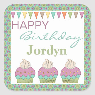 Cute Cupcake Purple Teal Birthday Party Celebrate Square Sticker