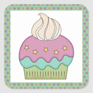 Cute Cupcake Purple Teal Birthday Party Celebrate Stickers