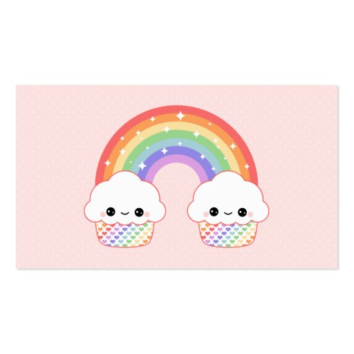 Collections of kawaii business cards cute cupcake rainbow business card templates colourmoves