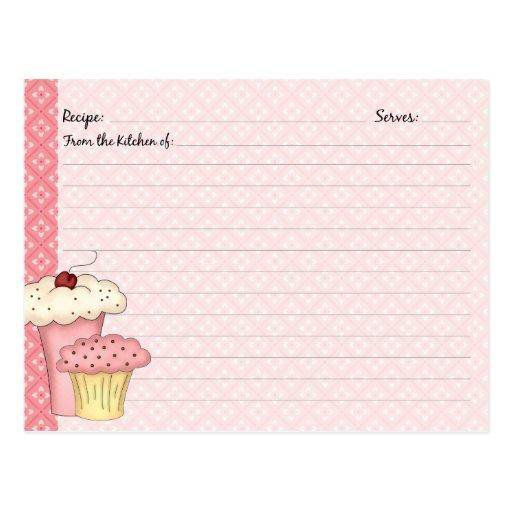 Cute Cupcake Recipe Cards Postcard | Zazzle