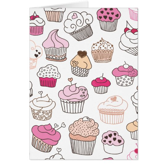 Cute cupcake sweet doodle card