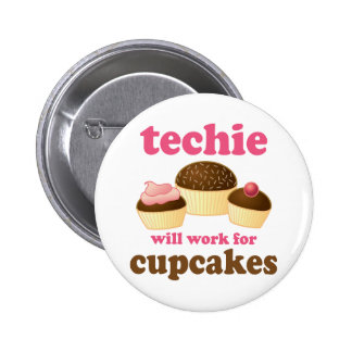 Cute Cupcake Techie 6 Cm Round Badge